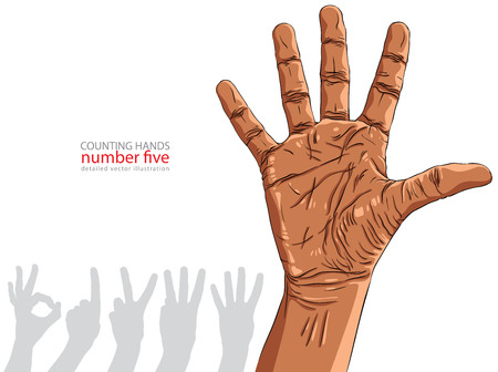 ethnicity: Numbers hand signs set, number five, African ethnicity, detailed vector illustration.