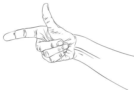 Wijzende vinger, gedetailleerde zwart-witte lijnen vector illustratie, hand teken, met de hand getekend.