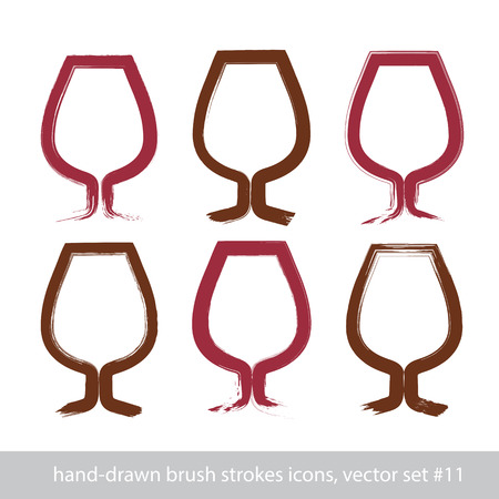 vectorized: Set of hand-painted simple empty brandy glasses isolated on white background, stroke cognac goblet icons created with real hand-drawn ink brush scanned and vectorized.