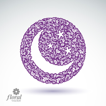 New Moon placed on a starry sky beautiful art illustration, flowery lullaby stylized icon – sleep time idea. Floral-patterned moony night image, can be used in advertising and web design.