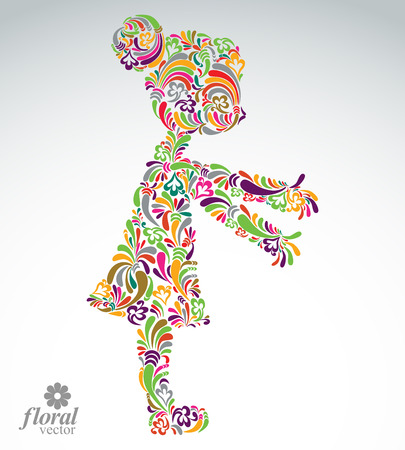 Art illustration of a girl stretching her hands. Cute teenage girl wearing a flower-patterned dress. Graphic vector stylized image of a schoolgirl Иллюстрация
