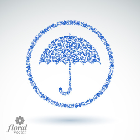 brolly: Beautiful flower-patterned umbrella. Stylized accessory – creative parasol, brolly graphic illustration, best for use in advertising and web design.