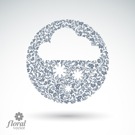 cloudburst: Winter snowing cloud with snowflakes – weather forecast simple pictogram. Flowery graphic weather conditions icon, design season image. Illustration