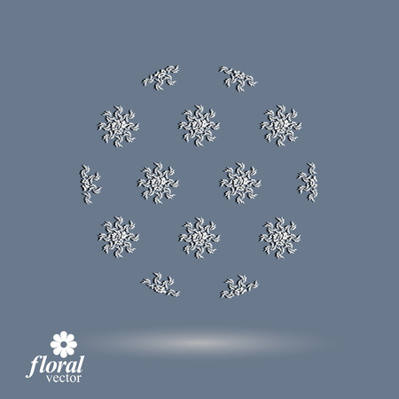 cloudburst: Winter abstract round object with beautiful snowflakes – weather forecast conceptual pictogram. Flower-patterned graphic season icon, design image.