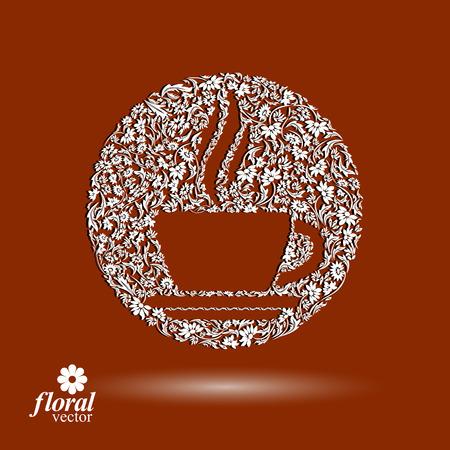 aromatique: Tasse de caf� � motif fleurs avec de la vapeur aromatique. Rendez-vous de th�me floral illustration.