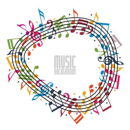 copy center: Colorful music background with clef and notes and copy space in the center, music sheet in round frame, musical theme template for your design.