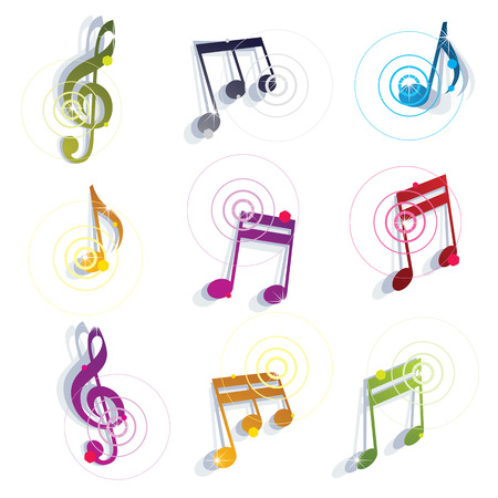 glamorous: Bright expressive jolly glossy musical notes and symbols isolated on white background, vector glamorous musical elements. Illustration