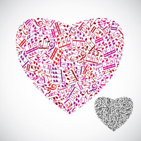 letras musicales: Hermoso corazón decorativo vector lleno de notas musicales aislados sobre fondo blanco, rojo y negro romántico símbolo del corazón.