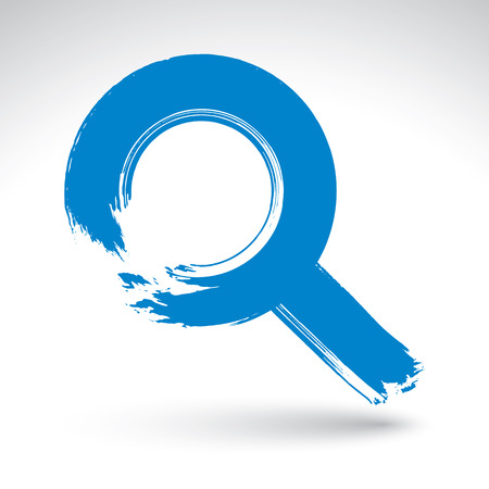 lens brush: Hand-painted blue magnifying glass icon isolated on white background, simple loupe symbol created with real ink hand drawn brush, scanned and vectorized. Illustration