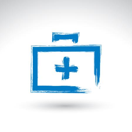 erste hilfe koffer: Pinselzeichnung einfachen blauen Verbandskasten, Medizin-Symbol, mit echten Hand gezeichnet Tinte Pinsel eingescannt und vektorisiert erstellt. Illustration