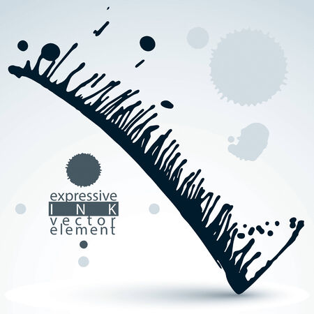 Modern vector inky wallpaper, eps8 blob painted with brush, muddled graffiti shape element, gray untidy illustration.