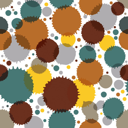 Vector ink splash seamless pattern with rounded overlap shapes and dots, dirty graphic art repeat backdrop with overlap acrylic spots, scanned and traced.