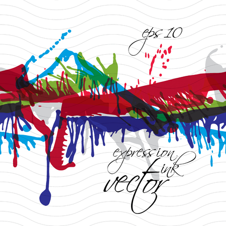 Colorful watercolor graffiti splash overlay elements, expressive paint seamless backdrop, eps10 cursive horizontal spotted wallpaper. Vector