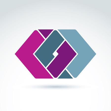 entwine: Complesso elemento aziendale geometrico. Vector abstract figure colorate create da parti separate, che si intersecano rombi.