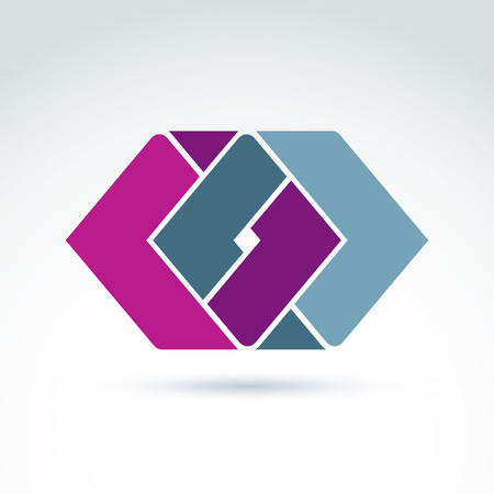parallelogram: Complex geometric corporate element. Vector abstract colorful figures created from separate parts, intersecting rhombs.