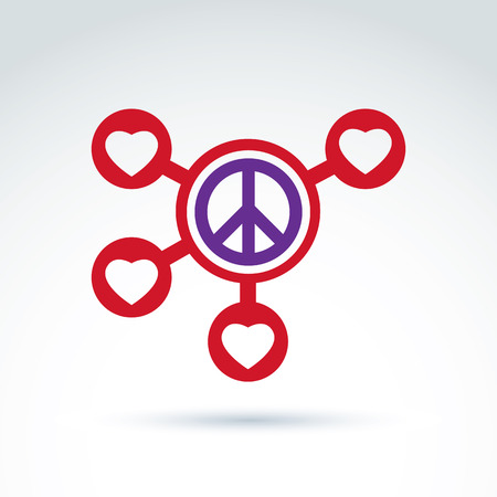 Round Antiwar And Love Vector Connected Icons Peace And Loving
