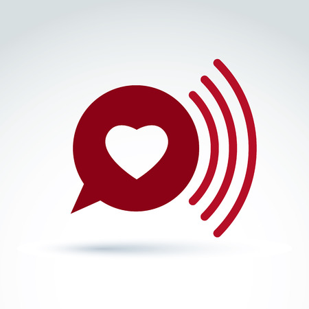 conceptual symbol: Heart over the speech bubble icon, vector conceptual stylish symbol for your design.