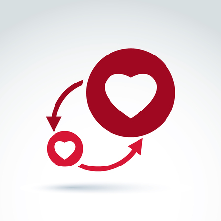 conversation icon: Hearts and arrows romantic conversation icon, vector conceptual stylish symbol for your design. Illustration