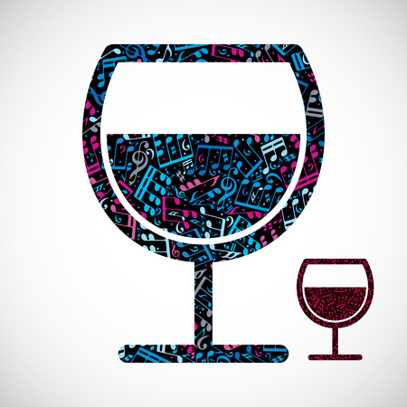half full: Decorative colorful vector half full wineglass filled with musical notes isolated on white background.