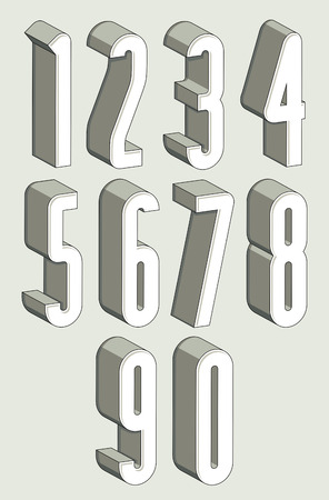 big five: 3d tall condensed numbers set, monochrome numerals for advertising and web design.