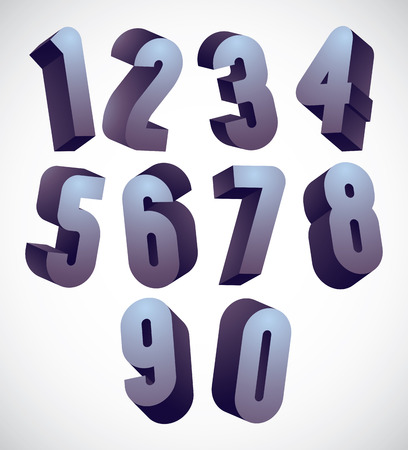 numerals: 3d numbers set, monochrome glossy numerals for advertising and web design.