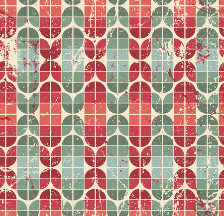 crannied: Colorful worn geometric seamless pattern, vector decorative abstract background.
