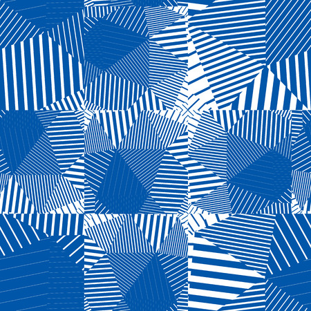 frayed: Geometric messy squared lines seamless pattern, blue vector frayed background.