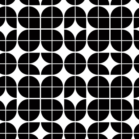 Black and white abstract floral seamless pattern, contrast geometric regular background. Vector