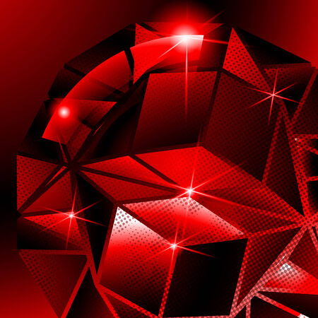 fond: Plastic pixilated backdrop with glossy 3d spherical object, reflective fond with scarlet globe synthetic dot element. Illustration
