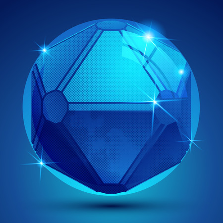 3d dimensional: Bright pixilated dimensional sphere with flash, sparkling 3d geometric object.