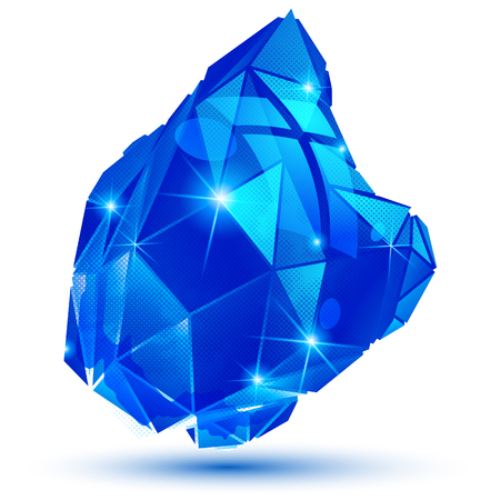 multifaceted: Plastic grain colorful dimensional geometric object, sparkling sapphire dotted element. Illustration