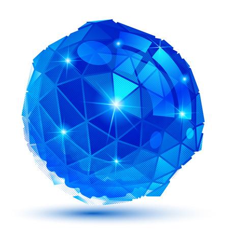 Vector grain technology object, cobalt multifaceted pixilated tech model. Vector