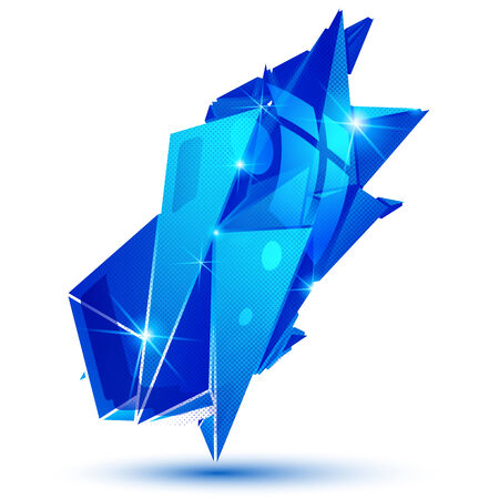 Plastic grain dimensional object created from geometric figures, sapphire shiny futuristic isolated element. Illustration