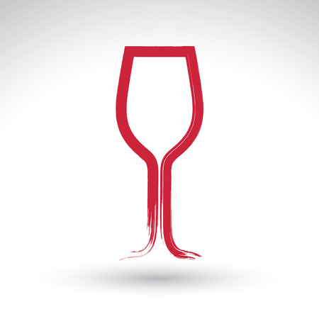 Hand-painted simple empty wineglass isolated on white background, tulip goblet icon, created with real hand drawn ink brush scanned and vectorized.
