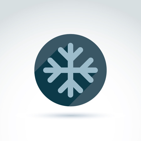 wintriness: Vector illustrated snowflake isolated on white background.  Weather forecast symbol, climate conditions.