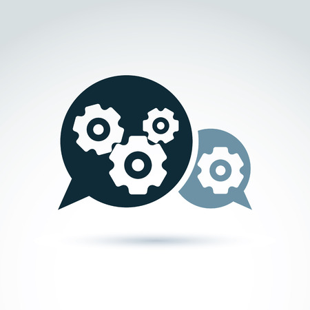 enterprise: Vector illustration of gears - enterprise system theme, organization strategy concept. Cog-wheels and moving parts placed in a speech bubble – chat on business process and management. Illustration