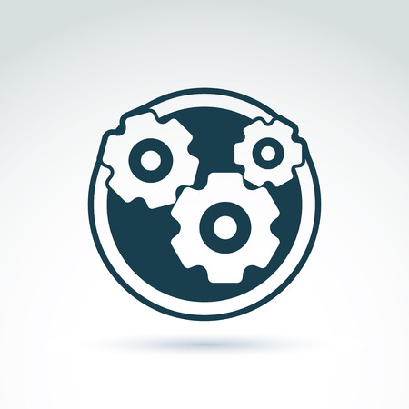 engineering: Vector illustration of an organization system, strategy concept. Cog-wheels and gears placed in a circle, service icon. Business and manufacturing process theme. Illustration