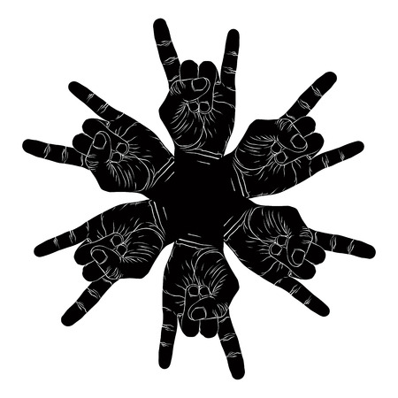 Six rock hands abstract symbol, black and white vector special emblem with human hands. Vector