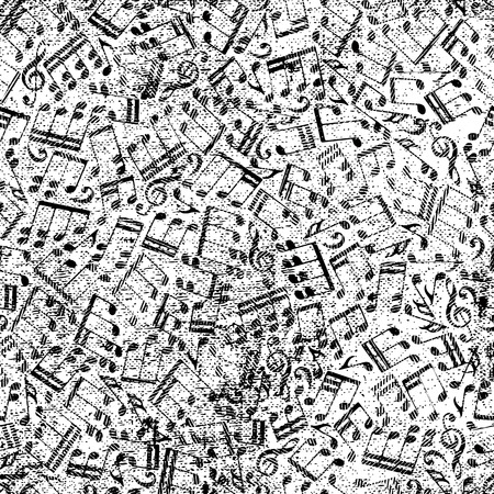 crannied: Vector black worn seamless pattern, striped musical notes and treble clefs on white background.