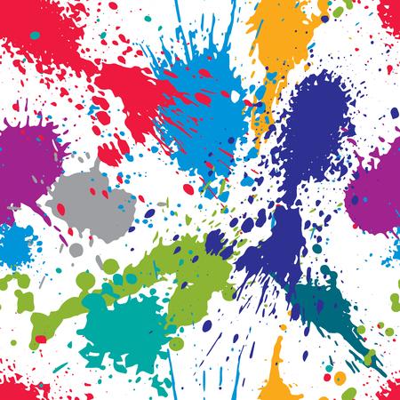 Colorful splattered web design repeat pattern, art ink blob, paintbrush drawing. Bright graffiti seamless background, eps8. Illustration