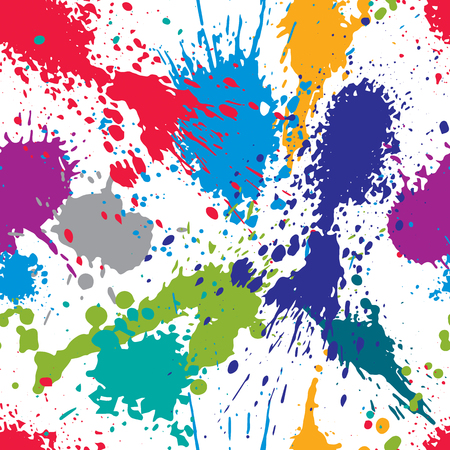 Colorful splattered web design repeat pattern, art ink blob, paintbrush drawing. Bright graffiti seamless background, eps8. Illustration