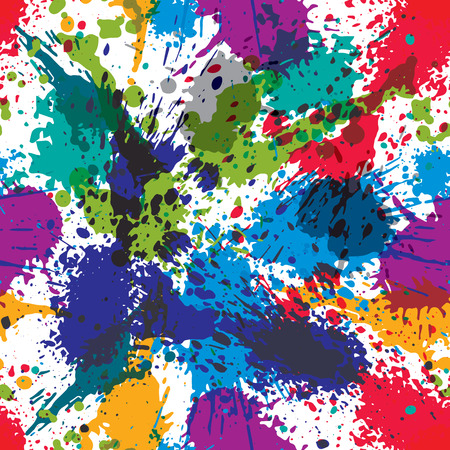 traced: Artistic colorful abstract dirty ink template, scanned and traced splashing decorative backdrop. Rough grungy repeat background. Illustration