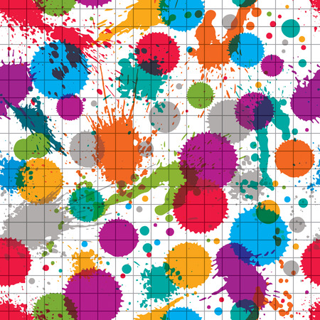 Vector ink splash seamless pattern with rounded overlap transparent shapes, colorful expressive  graphic art repeat backdrop with circle acrylic spots, scanned and traced.