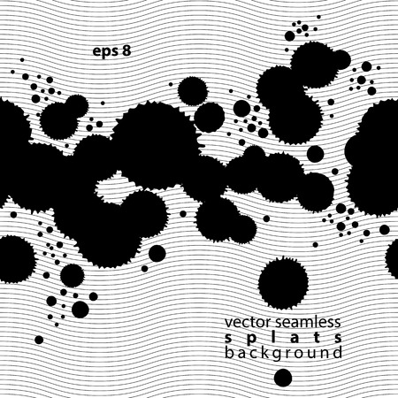 traced: Black and white vector ink splash seamless pattern, monochrome dirty messy graphic art repeat backdrop with overlap acrylic spots, scanned and traced. Illustration