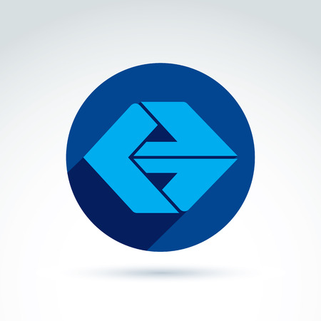multidirectional: Vector abstract emblem with blue arrow – direction sign, pointer. Forward symbol placed in a circle. Illustration