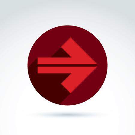 flèche double: Vector abstract emblème avec flèche rouge - pointeur. Double panneau de direction placé dans un cercle.