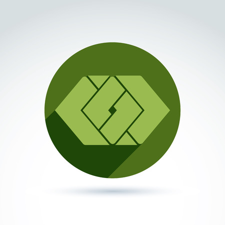 complex: Complex geometric corporate element placed in a circle. Vector abstract colorful figures created from separate parts, intersecting green rhombs.