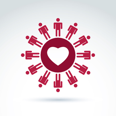 devotion: Vector society donation symbol, compassion and love sign. People standing around the loving heart. Save life social icon.