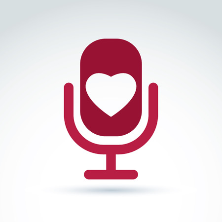 love song: Vector illustration of red microphone with love symbol, broadcast icon. Love song sign. Illustration