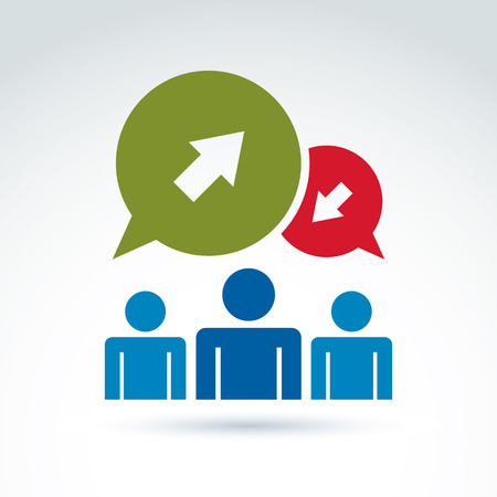 contra: Three silhouettes of people facing forward, monochrome illustration of a problem discussion with contra opinions. Vector business and management icon. Speech bubbles with green and red arrows.